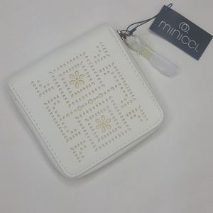 4/$25 Minicci White Cream Punched Wallet Clutch